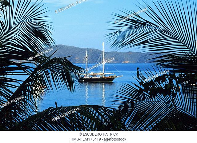 Venezuela, Sucre State, Puerto La Cruz, Mochima National Park, sailboat mooring in Santa Fe Gulf