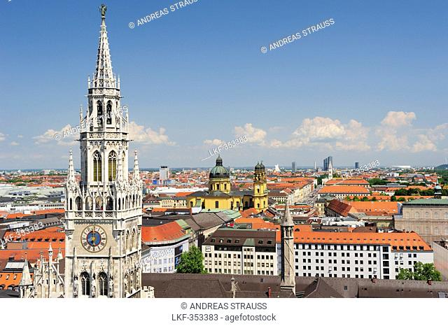 View to city of Munich with town hall Neues Rathaus and church Theatinerkirche, Munich, Upper Bavaria, Bavaria, Germany, Europe