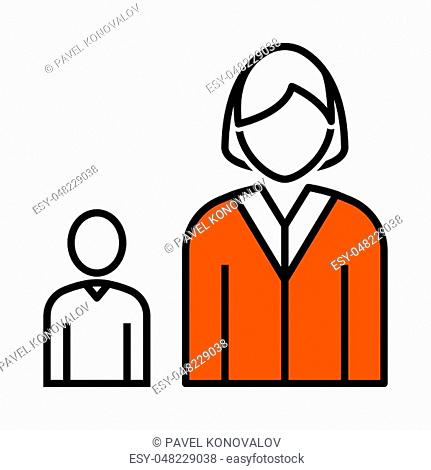 Lady Boss With Subordinate Icon. Thin Line With Orange Fill Design. Vector Illustration
