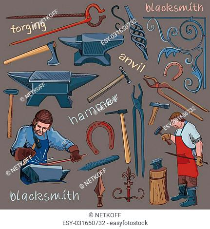 Collection of hand drawn blacksmith icons, such as horseshoe, sledgehammer, vise, oven for your design