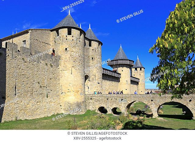 Comtal Chateau the medieval castle fortress at Carcassonne, Aude, Languedoc, Roussillon, France, a UNESCO world heritage site