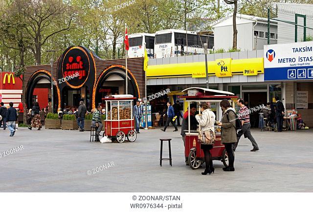 market stalls at Taksim Square, Istanbul,Turkey