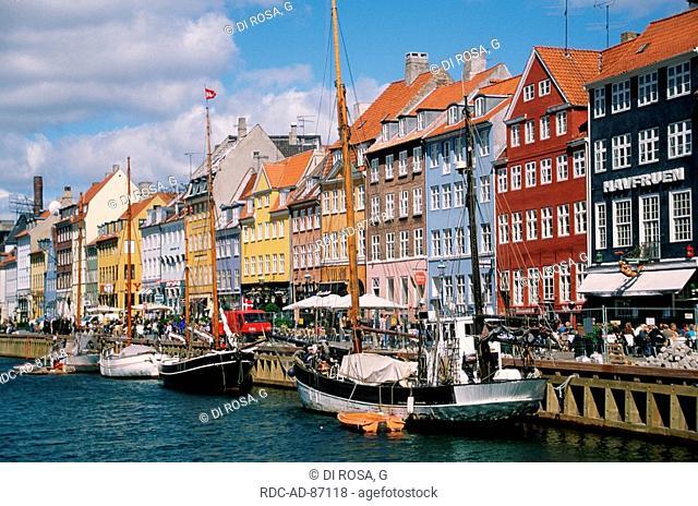 Sailing ships in harbour Nyhavn Copenhagen Zealand Denmark