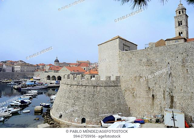 Wall and seaport of Dubrovnik, Croatia