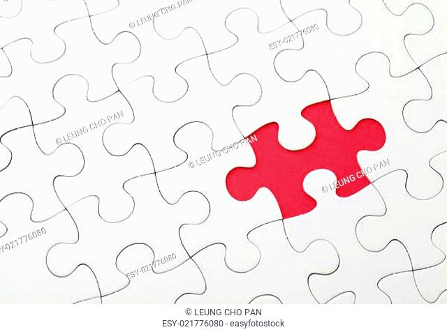 Missing puzzle piece in red color