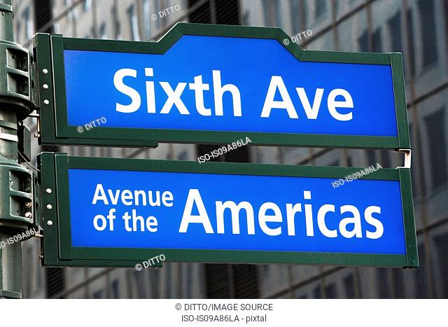 Sixth Avenue street sign, New York City, USA