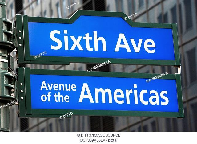 Sixth Avenue street sign, New York City, USA
