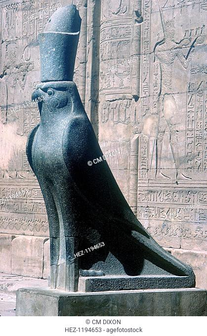 Figure of the god Horus in the form of a falcon, Temple of Horus, Edfu, Egypt, Ptolemaic Period, c251 BC-c246 BC