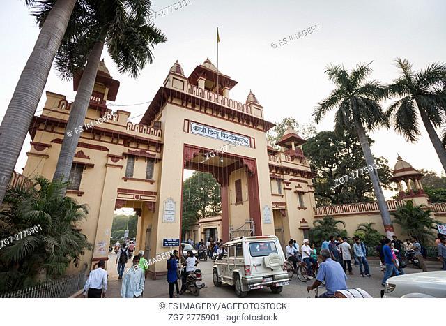 Traffic moves through the Banaras Hindu University in Varanasi, India