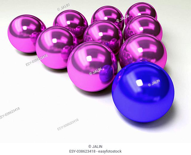 3D conceptual image of a pyramid with a color ball as a cornerstone