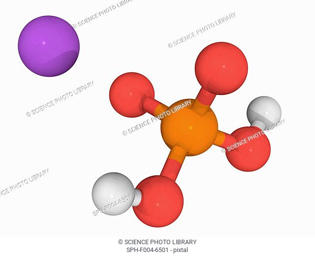 Monosodium phosphate, molecular model. Chemical compound used as a laxative. Atoms are represented as spheres and are colour-coded: phosphorus orange