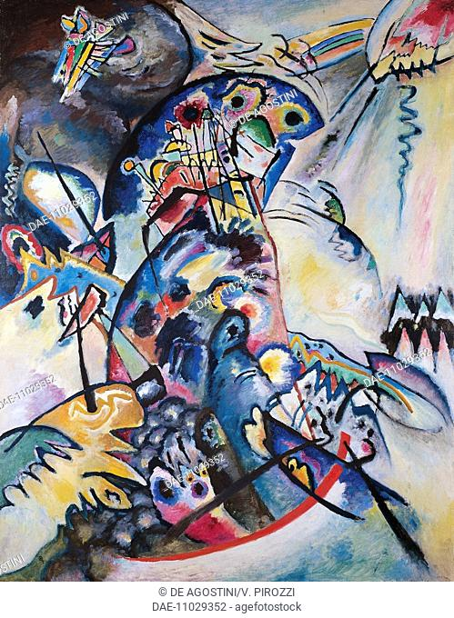 Blue crest, 1917, by Wassily Kandinsky (1866-1944), oil on canvas. Russia, 20th century.  San Pietroburgo, Gosudarstvennyj Russkij Muzej