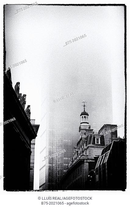 foggy image of the City of London, England, UK
