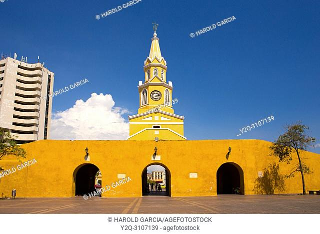 View to the cathedral with clock tower in Cartagena historic center. Bolivar , Colombia, South America