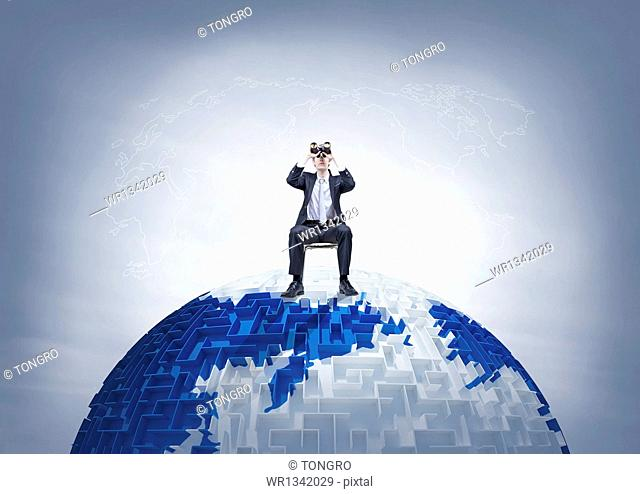 a business man on the globe