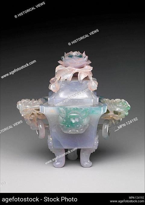 Incense burner in the shape of an archaic vessel. Period: Qing dynasty (1644-1911); Date: 19th century; Culture: China; Medium: Jade (jadeite); Dimensions: H