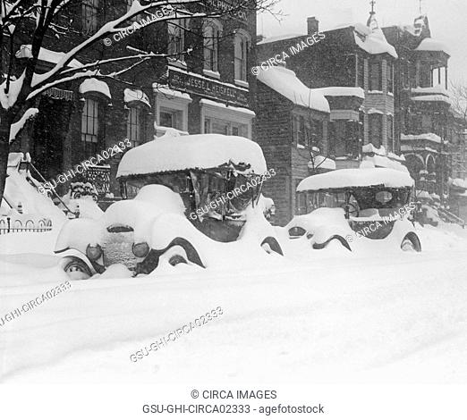 Two Automobiles Covered in Snow during Blizzard, Washington DC, USA, National Photo Company, January 1922