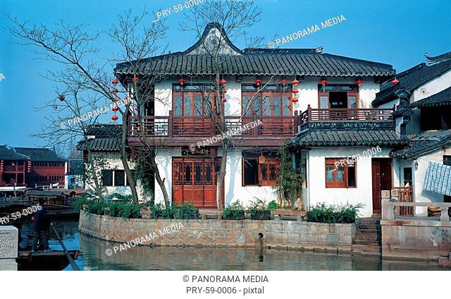 the traditional Chinese buidings along river in Zhujiajiao Town,Shanghai