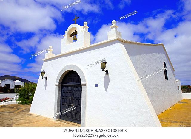 spain,canary islands,lanzarote : , la geria, church