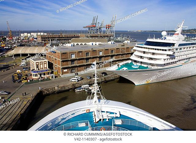 Cruise ships in the Commercial Port, Montevideo, Uruguay, South America