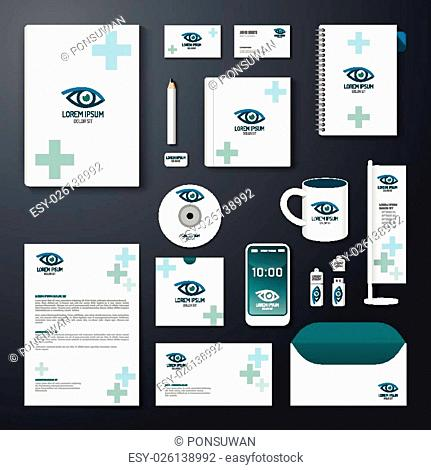 Vector brochure, flyer, magazine cover booklet poster design template/ layout business stationery annual report A4 size/ set of eye health corporate identity...