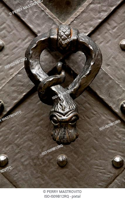 Close up of wrought iron snake-shaped door knob
