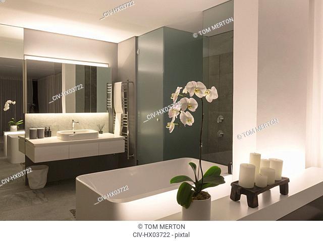 Illuminated modern, luxury home showcase bathroom