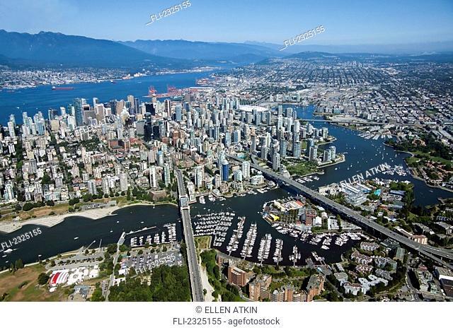Aerial View Of False Creek Granville Bridge Burrard Bridge And Downtown;Vancouver British Columbia Canada