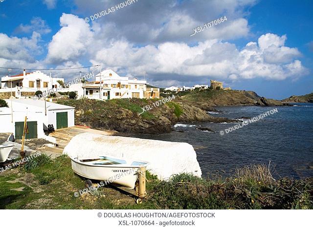 Cala Mesquida SA MESQUIDA MENORCA Boats beach village and Torre de Sa Mesquida watchtower