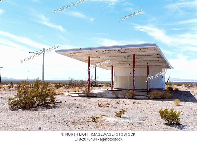 USA, California, Chambless. The remains of an old gas station in an abandoned town on the side of little used portion of Route 66, in the Mojave Desert