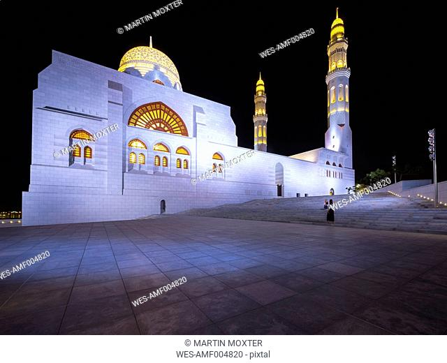 Oman, Muscat, Mohammed Al Ameen Mosque at night