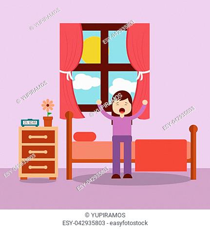 woman waking up in the bed and stretching vector illustration