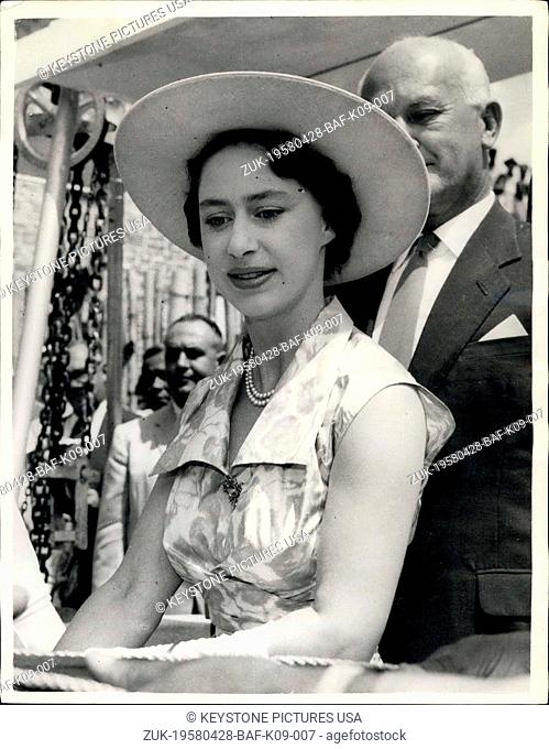 Apr. 28, 1958 - 28-4-58 Original Picture ?¢'Ǩ'Äú Princess Margaret on West Indies tour. Photo Shows: Princess Margaret is in a happy mood when she attended the...
