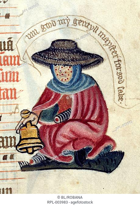 A crippled leper, seated, with a bell. Image taken from Pontifical. Originally published/produced in circa 1400