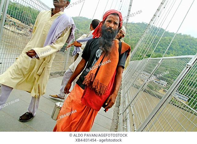 Lakshman Jhula suspension bridge, Rishikesh, Uttarakhand, India