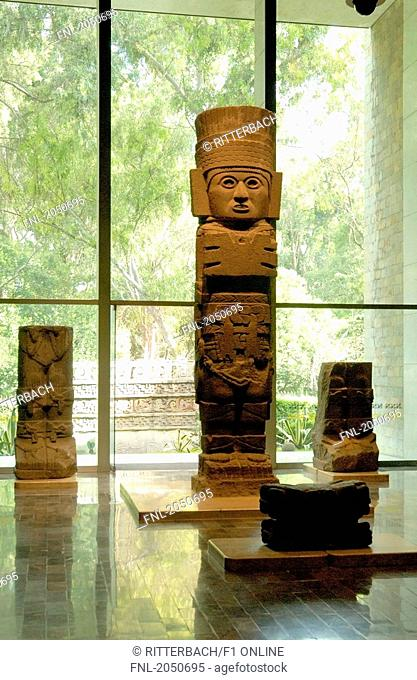 Sculptures inside museum, National Museum Of Anthropology, Mexico City, Mexico