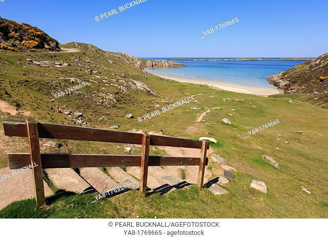 Sangobeg, Durness, Sutherland, Highland, Scotland, UK, Britain, Europe  Steps and path going down to secluded white sand Ceannabeinne beach on the Scottish...