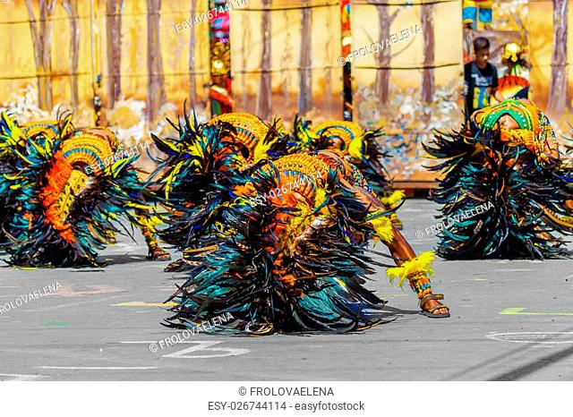 January 24th 2016. Iloilo, Philippines. Festival Dinagyang. Unidentified people on parade in carnival costumes. Documentary Editorial Image