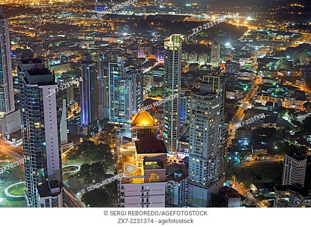 Skyline, Panama City, Panama, Central America by night. Cinta Costera Pacific Ocean Coastal Beltway Bahia de Panama linear park seawall skyline skyscraper...