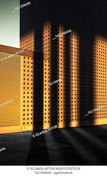 Building at sunset. Forum de Barcelona, Catalonia, Spain