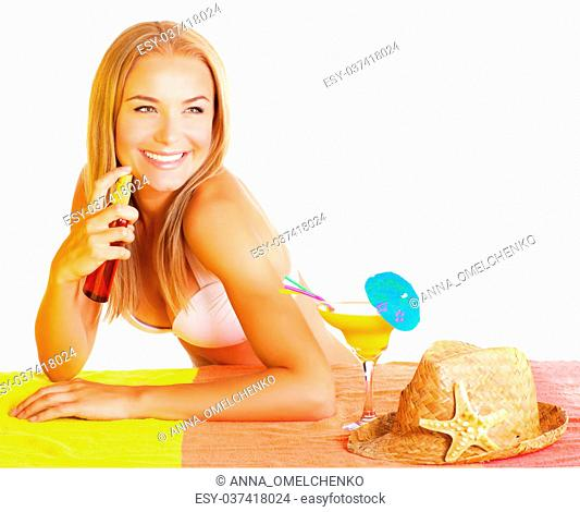 Beautiful sexy woman using sunscreen isolated on white background, tasty tropical cocktail, straw hat, healthy lifestyle, applying sun protection
