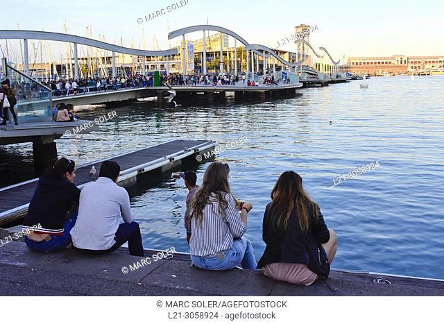 Rambla del Mar footbridge to Maremagnum area . Port Vell, Barcelona, Catalonia, Spain