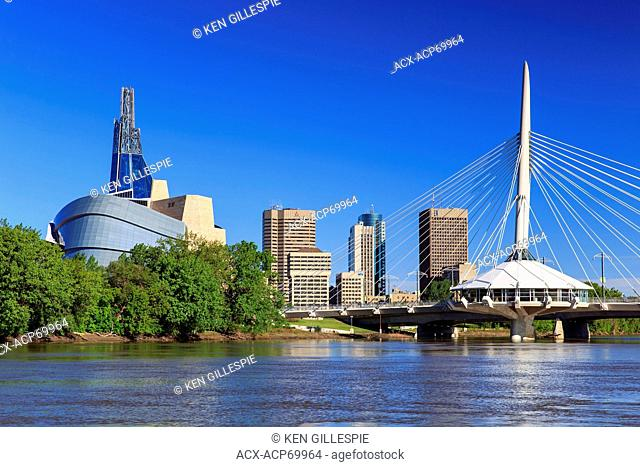 Winnipeg skyline viewed from the Red River, Winnipeg, Manitoba, Canada