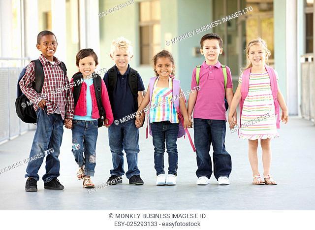 Group Of Elementary Age Schoolchildren Standing Outside