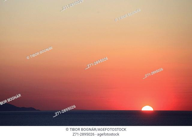 Greece, Cyclades, Mykonos, Hora, sunset