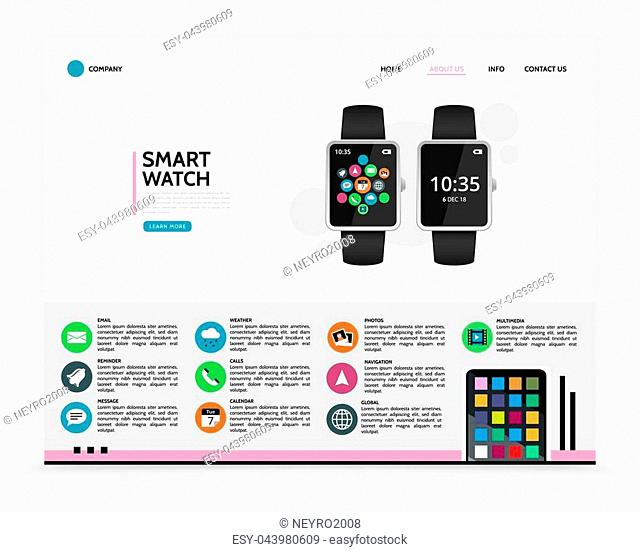Flat smart watch landing page concept with widgets chat email reminder weather call calendar photo navigation global multimedia applications icons vector...