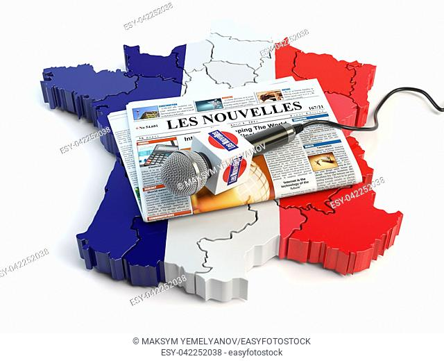 "French news, press and journalism concept. Microphone and newspaper with headline """"Les nouvelles"""" (french for: news)on the map in colors of the flag of France"