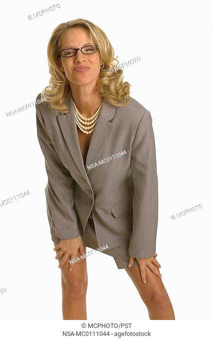 a businesswoman bespectacled