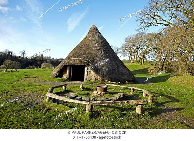 Iron Age Roundhouse, Castell Henllys, Pembrokeshire, Wales, UK