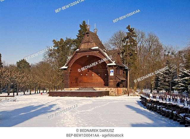 Wooden bandstand in Ciechocinek, Kuyavian-Pomeranian Voivodeship, Poland